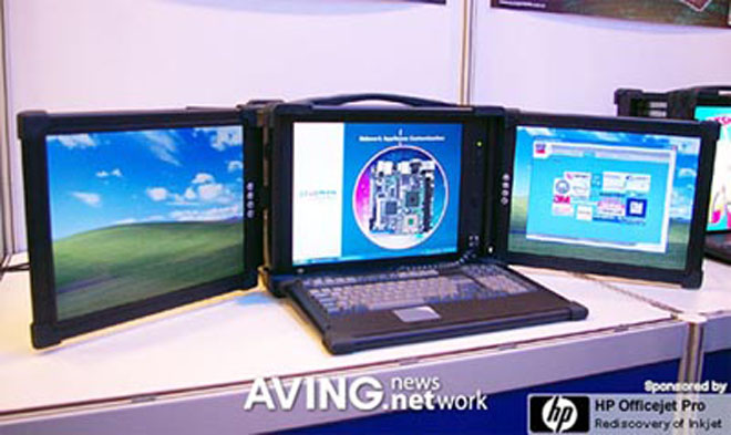 Acme Laptop With Triple Color Displays