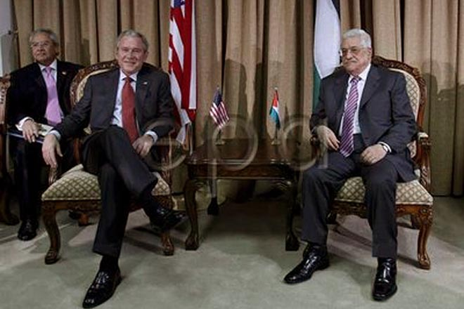 Bush meets Palestinian leaders as peace push continues
