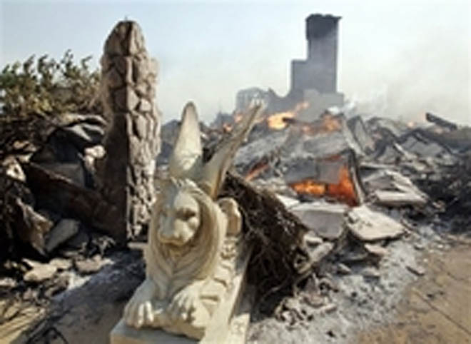 Malibu Fire Burns Church, Homes, Castle Kashan