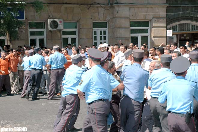 MEMBERS OF MODERN MUSAVAT HOLD A RALLY IN FRONT OF PFAP (R) BUILDING - Gallery Image