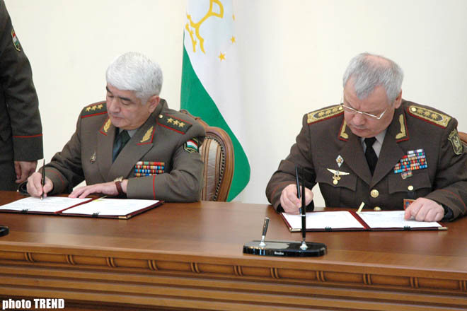 Azerbaijan and Tadjikistan signed agreement on cooperation in military sphere - Gallery Image