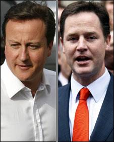 Britain's Cameron, Clegg meet for private talks on power deal