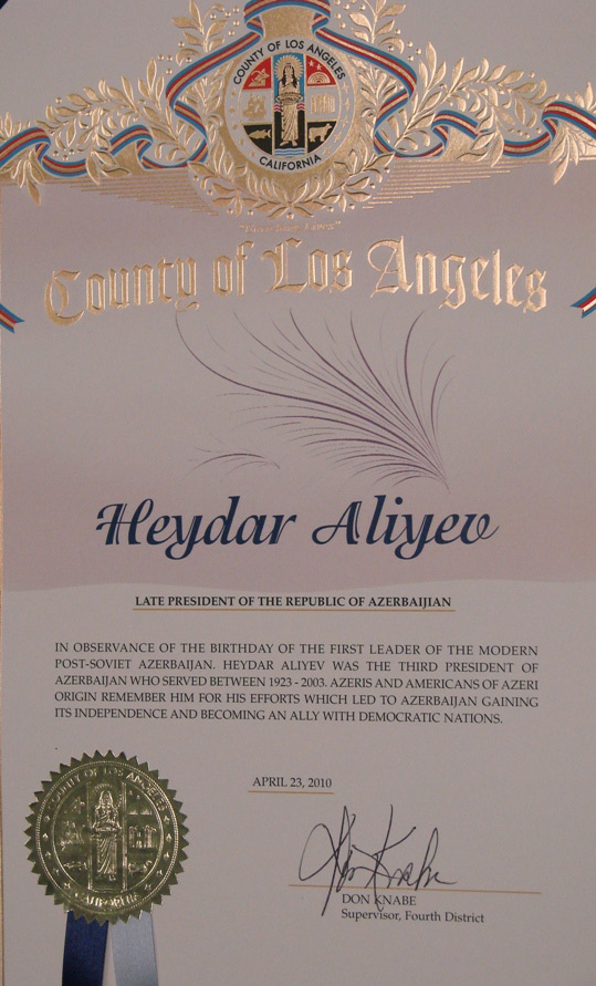 California congratulates Azerbaijan on national leader birthday (PHOTO) - Gallery Image