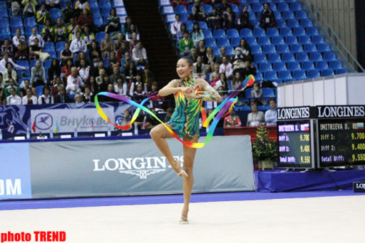 Azerbaijani gymnasts compete in ribbon exercises in Moscow (PHOTO)