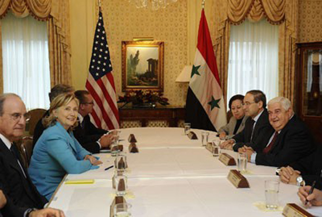 Al-Moallem and Clinton: Constructive Dialogue to be Continued, Obstacles Hindering Peace on All Tracks Reviewed