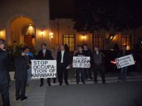 """Azeri- and Turkish-American Community activists confront self-proclaimed separatist """"Nagorno-Karabakh President"""" in California (PHOTO) - Gallery Thumbnail"""