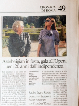 """""""Rome Chronicles"""" features visit of Azerbaijan`s First Lady to Italy"""
