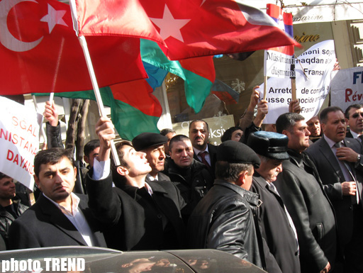 Protest held in front of French embassy in Baku (PHOTO)