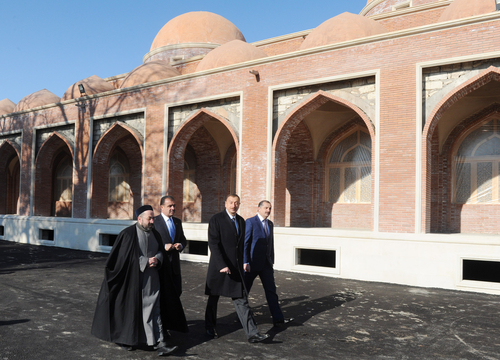 Azerbaijani President gets acquainted with reconstruction work at Imamzade mosque complex in Ganja city (PHOTO)