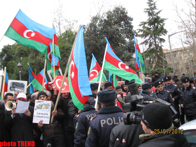 New protest held in front of French Embassy in Baku (PHOTO)