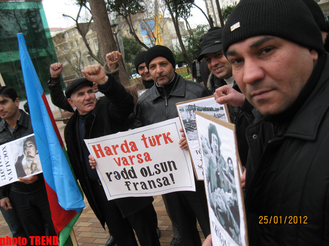 New protest held in front of French Embassy in Baku (PHOTO) - Gallery Image