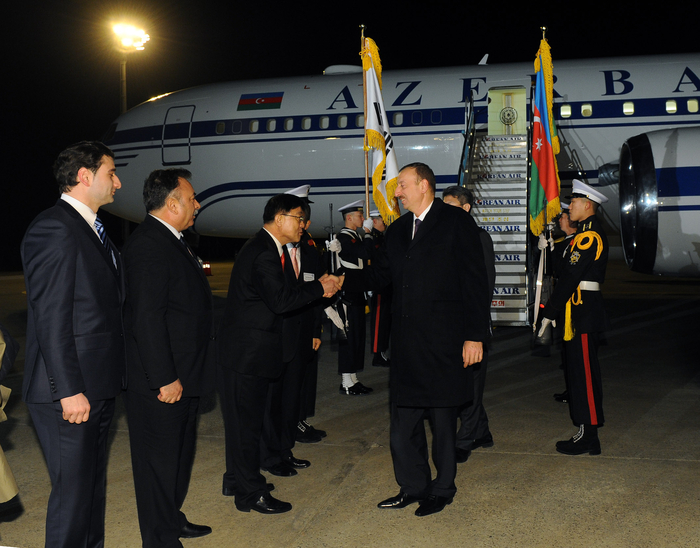 Azerbaijani President arrives in South Korea for working visit