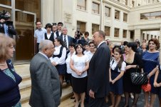 President Ilham Aliyev opens newly reconstructed school No 18 in Baku on Knowledge Day (PHOTO) - Gallery Thumbnail