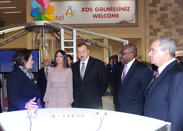 Azerbaijani President and his spouse attend opening of Bakutel-2012 exhibition (PHOTO)