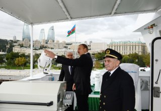 Azerbaijani President attends ceremony to launch Balakan and Barda ferries of State Caspian Shipping Company (PHOTOS)