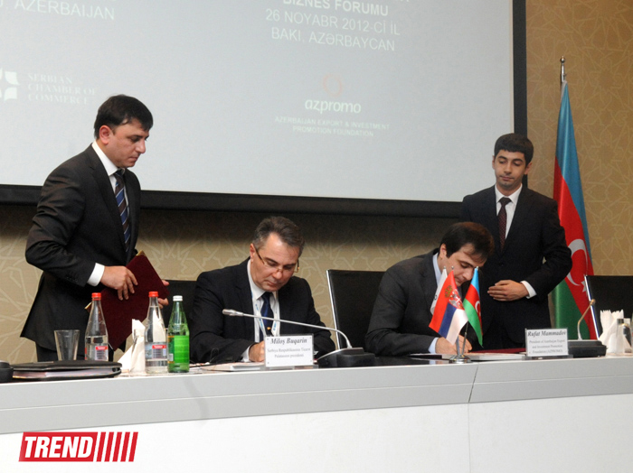 Two documents signed within Azerbaijani-Serbian business forum (PHOTO)