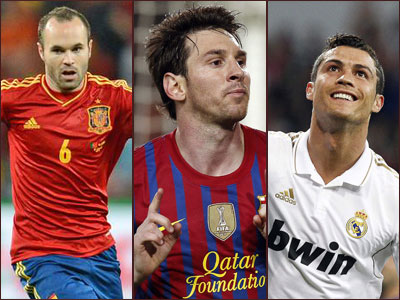 Messi, Ronaldo, Iniesta in running for world player title