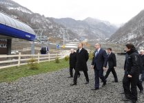 President Ilham Aliyev inspects construction of Tufan Alpine Skiing Recreation Complex (PHOTO) - Gallery Thumbnail