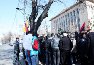 Protest in front of Constitutional Court of Armenia.