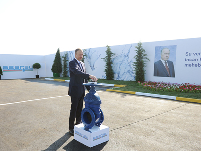 Azerbaijani President attends ceremony to start drinking water supply to Shirvan (PHOTO)