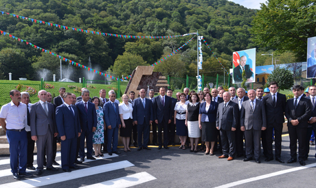 President Ilham Aliyev attends ceremony of pumping drinking water to Oghuz city (PHOTO) - Gallery Image