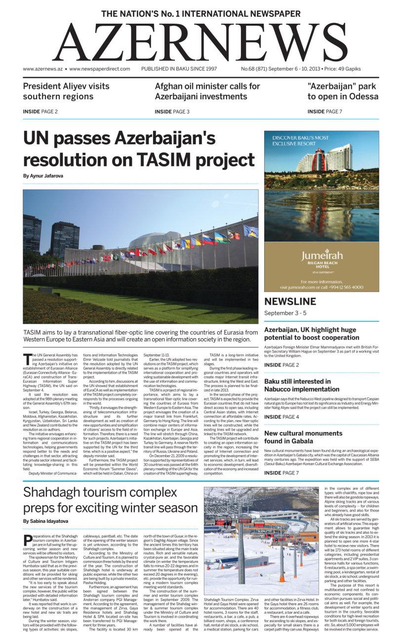 Вышла в свет очередная печатная версия газеты AZERNEWS - Gallery Image
