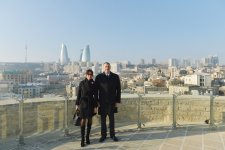Azerbaijani President Ilham Aliyev and his spouse familiarize with conservation work at Maiden Tower in Baku (PHOTO) - Gallery Thumbnail