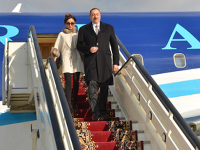 President Ilham Aliyev and his spouse arrive in Russia for working visit (PHOTO)