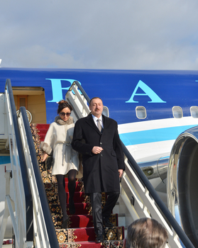 President Ilham Aliyev and his spouse arrive in Russia for working visit (PHOTO) - Gallery Image