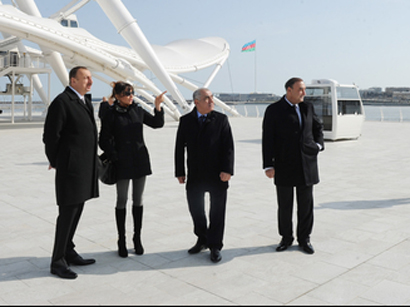 Azerbaijani president and his spouse attend opening of modern amusement ride in Baku