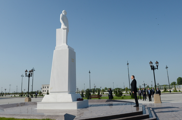 Azerbaijani president arrives in country's Agdash district