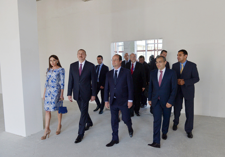 Ilham Aliyev, Francois Hollande, and First Lady Mehriban Aliyeva observe construction of French Lyceum in Baku