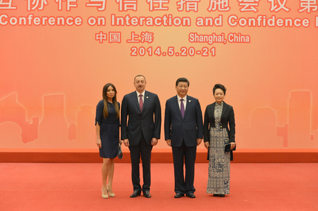 President Ilham Aliyev attended a reception in honor of heads of state and government in Shanghai (PHOTO) - Gallery Image