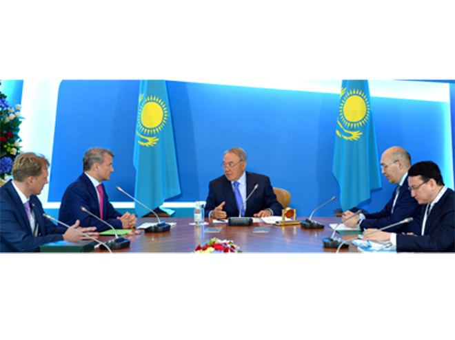 Kazakh president meets with Sberbank of Russia chairman of board