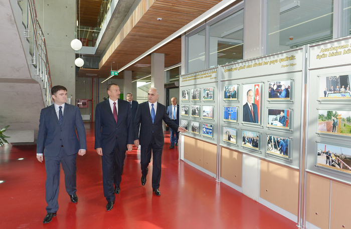 Azerbaijani president attends opening of a cement plant in Baku (PHOTO)
