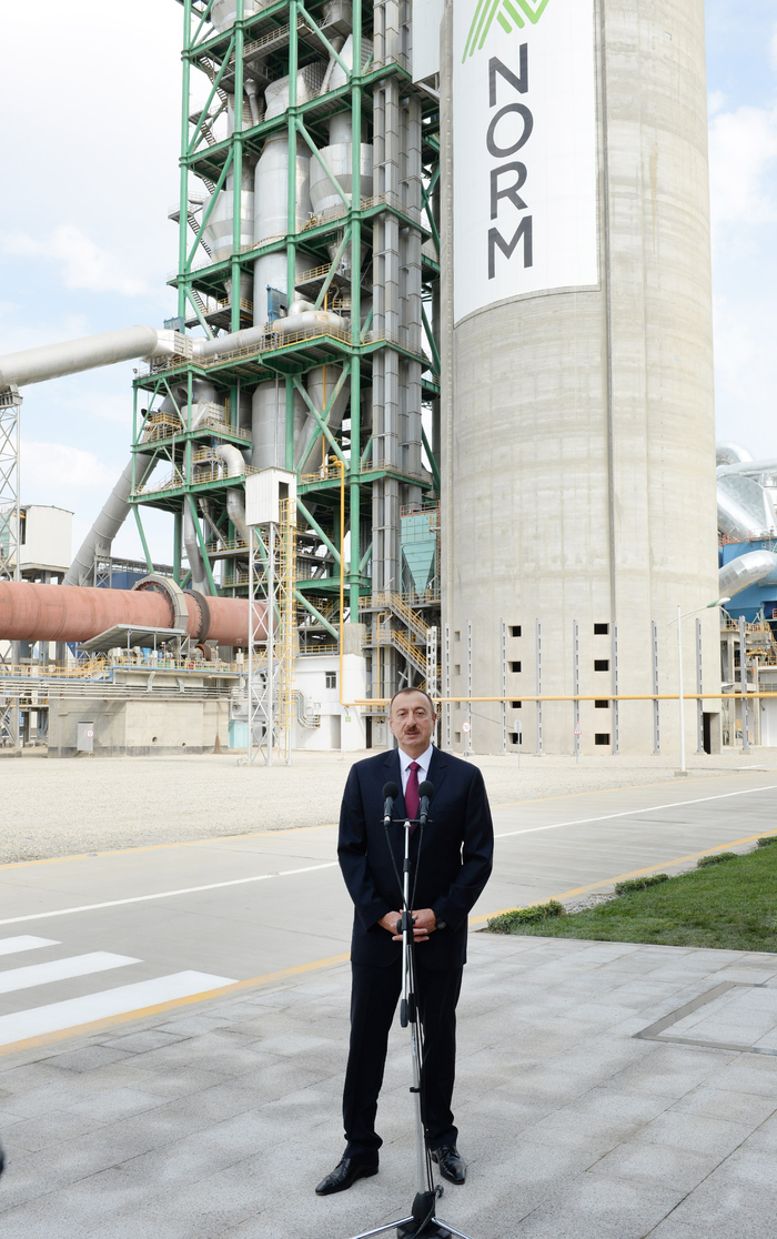 Azerbaijani president attends opening of a cement plant in Baku (PHOTO) - Gallery Image