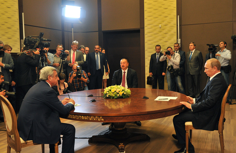 Trilateral meeting of Azerbaijani, Russian and Armenian presidents begins (PHOTO) - Gallery Image