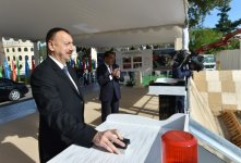 Azerbaijani president attends foundation laying ceremony of Ganja State Drama Theatre - Gallery Thumbnail
