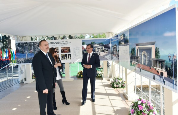 Azerbaijani president attends foundation laying ceremony of Ganja State Drama Theatre