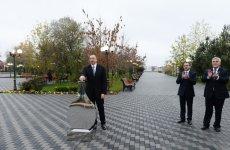 Президент Ильхам Алиев принял участие в церемонии подачи питьевой воды в город Сабирабад - Gallery Thumbnail