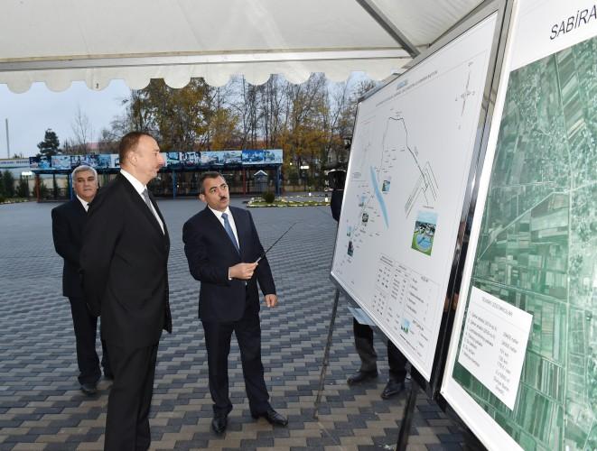 Президент Ильхам Алиев принял участие в церемонии подачи питьевой воды в город Сабирабад - Gallery Image