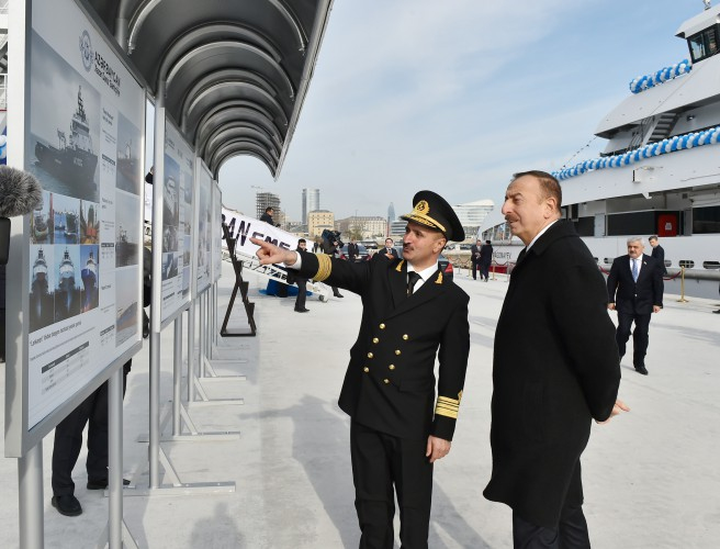 Президент Азербайджана и его супруга приняли участие в церемонии сдачи в эксплуатацию корабля «Муслим Магомаев» (версия 2) (ФОТО) - Gallery Image