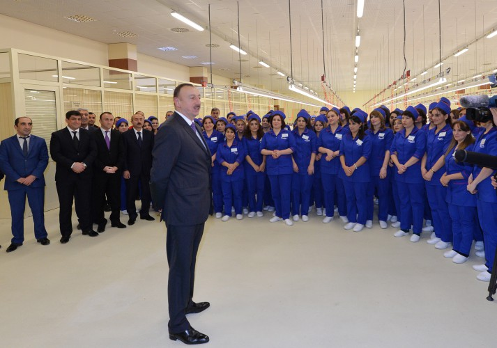President Aliyev attended the opening of sewing factory in Sumgayit