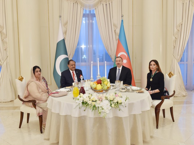 Dinner reception was hosted on behalf of President Ilham Aliyev in honor of President Mamnoon Hussain
