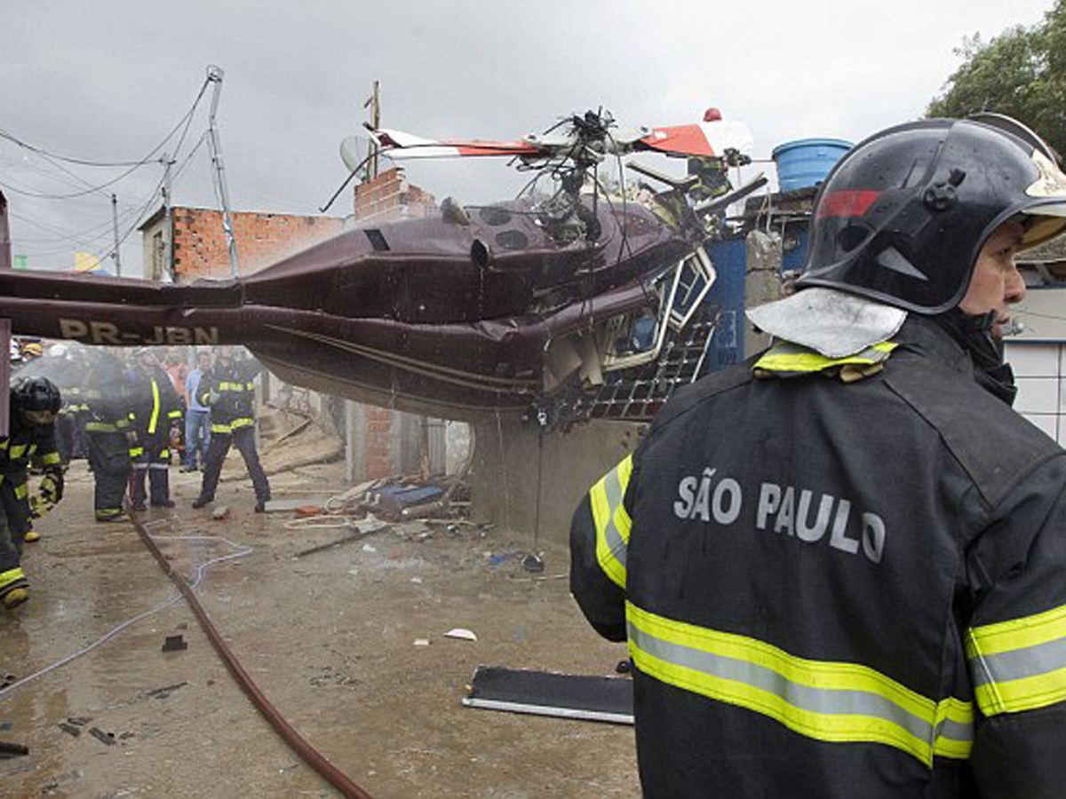 Helicopter crashes in Sao Paulo, Brazil, killing 5 people