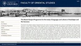 На официальном сайте Оксфордского университета презентован Научный центр Азербайджана и Кавказоведения имени Низами Гянджеви - Gallery Thumbnail