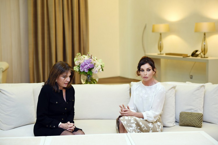 Azerbaijan`s first lady meets with member of French Senate