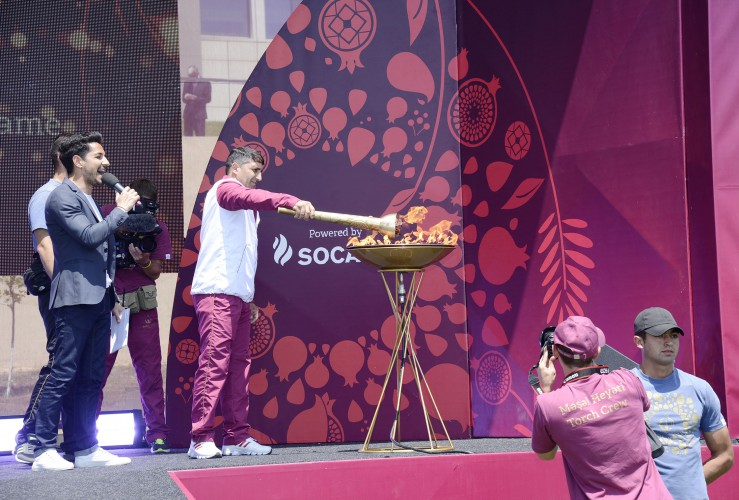 Azerbaijan's Oghuz district welcomes flame of first European Games