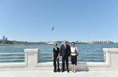 President Ilham Aliyev, his wife  attend opening of Bayil Boulevard - Gallery Thumbnail