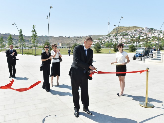 President Ilham Aliyev, his wife  attend opening of Bayil Boulevard